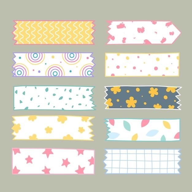 Handgezeichnetes washi tape set Kostenlosen Vektoren