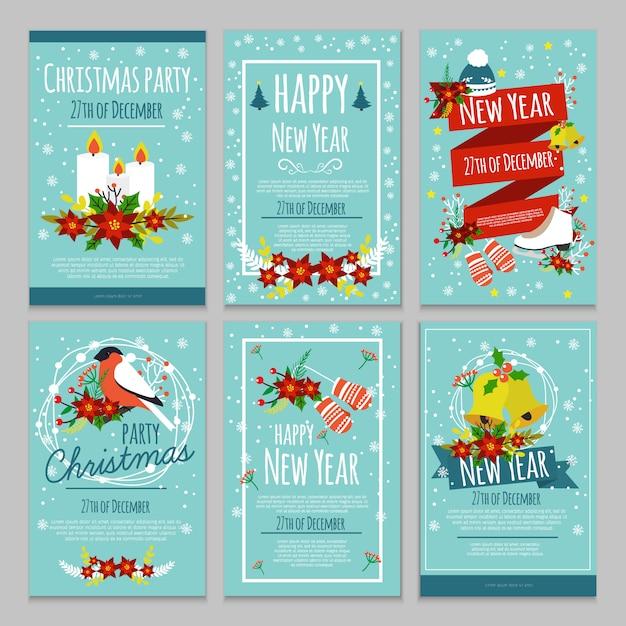 Handgezeichnetes weihnachtsplakatset mit beschreibungen der weihnachtsfeier am 27. dezember Kostenlosen Vektoren