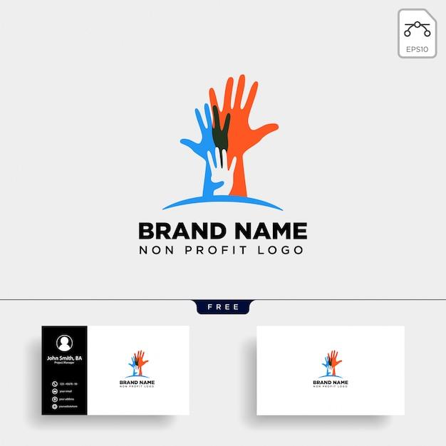 Handpflege non-profit-logo Premium Vektoren