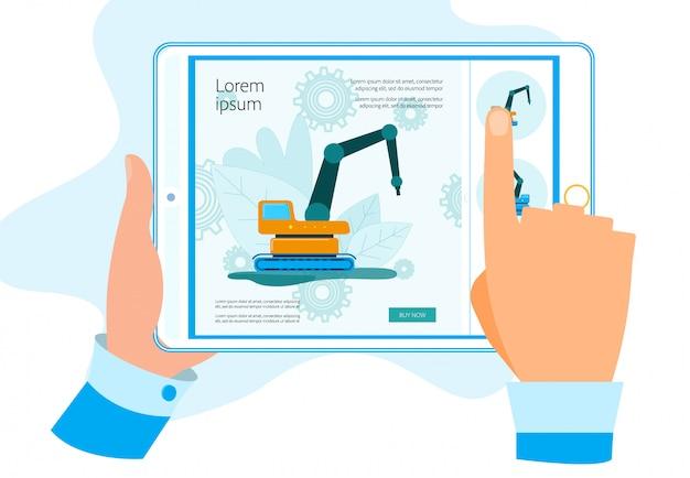 Hands tablet mit app für den kauf von baumaschinen Premium Vektoren
