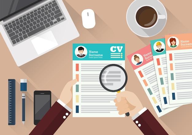 Handschrift curriculum vitae anwendung papier blatt Premium Vektoren