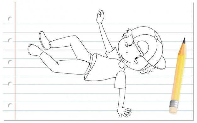 Handschrift des jungen tanzenden umrisses Kostenlosen Vektoren