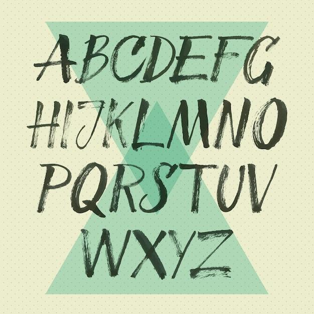 Handschriftliche schriftschrift. pinsel schriftart. großbuchstaben, zahlen, interpunktion Kostenlosen Vektoren