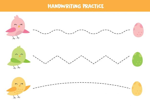 Handschriftpraxis mit niedlichen bunten vögeln Premium Vektoren