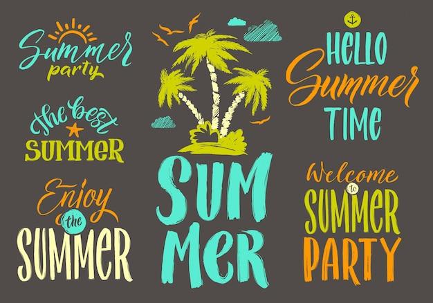 Handschriftsvektorwörter stellten für sommerpostkartendekoration ein. Premium Vektoren