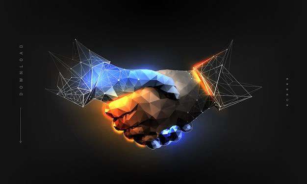 Handshake im polygonalen drahtgitterstil Premium Vektoren