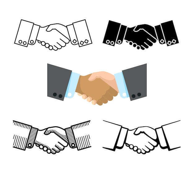 Handshake, teilhaberschaft, vereinbarungvektorikonen Premium Vektoren