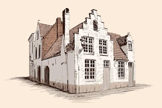 Handskizze auf beigem hintergrund. altes backsteinhaus mit einem ziegeldach im europäischen stil. Premium Vektoren