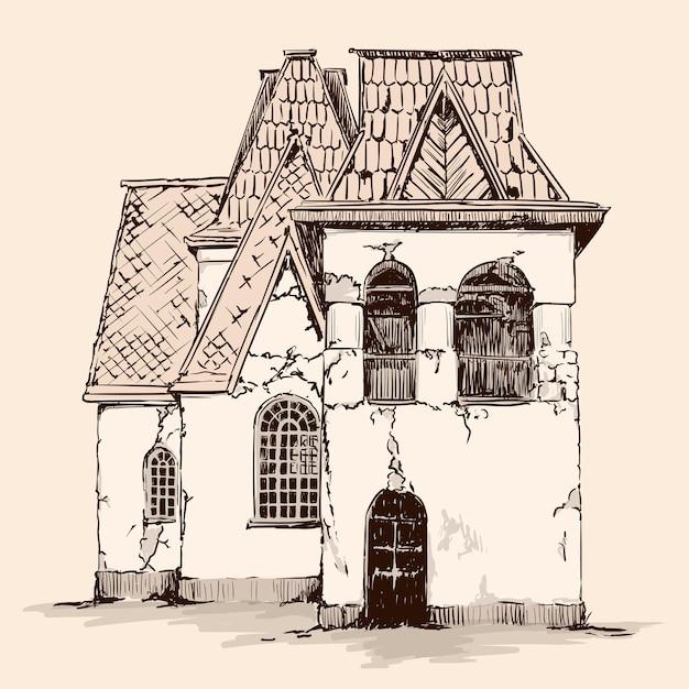 Handskizze auf beigem hintergrund. altes rustikales steinhaus im russischen stil mit einem holzdach. Premium Vektoren