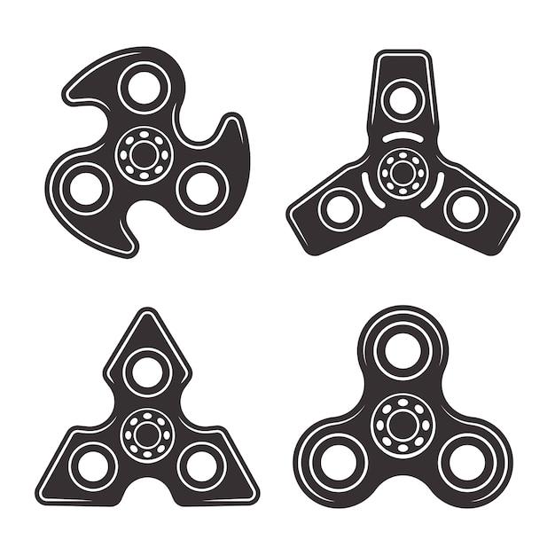 Handspinner-satz von vier schwarzen designelementen der art lokalisiert auf weißem hintergrund Premium Vektoren