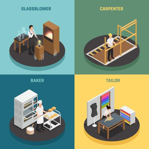 Handwerker berufe 2x2 design-konzept Kostenlosen Vektoren