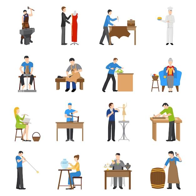 Handwerker icons flat Kostenlosen Vektoren
