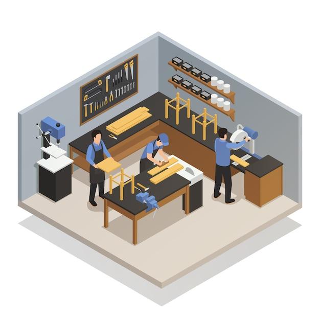Handwerker-leute-isometrische zusammensetzung Kostenlosen Vektoren