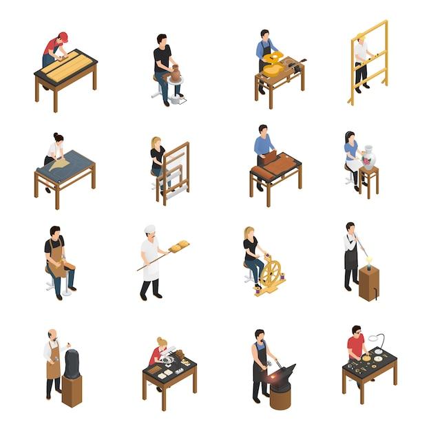 Handwerker menschen isometrische set Kostenlosen Vektoren