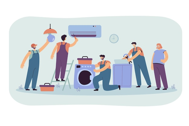 Handwerker reparieren kunden haushaltsgerät. karikaturillustration Kostenlosen Vektoren