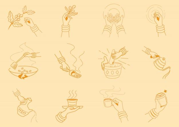 Handwerkskaffee, der mit handillustration macht Premium Vektoren