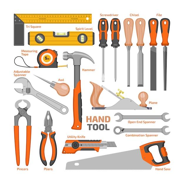 Handwerkzeugvektorbau-handwerkzeughammerzangen und schraubenzieher des werkzeugkastenillustrations-werkstattsatzes des tischlerschlüssels und der handsäge lokalisiert. Premium Vektoren