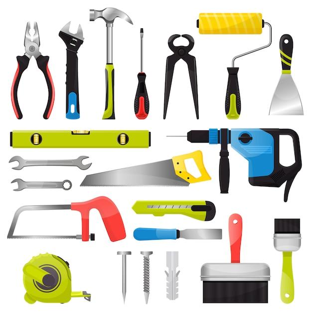 Handwerkzeugvektorhandwerkzeug-hammerzangen und schraubenzieher des werkzeugkastens Premium Vektoren
