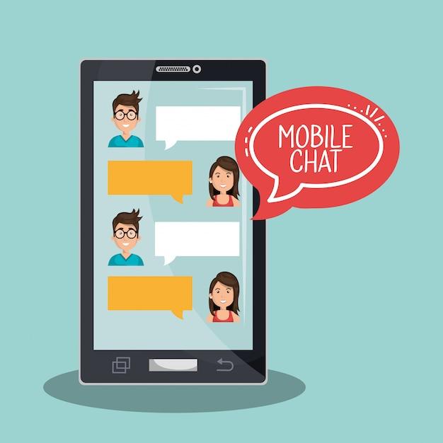 Handy chat abbildung Premium Vektoren