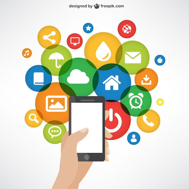 Handy mit App-Symbole Premium Vektoren