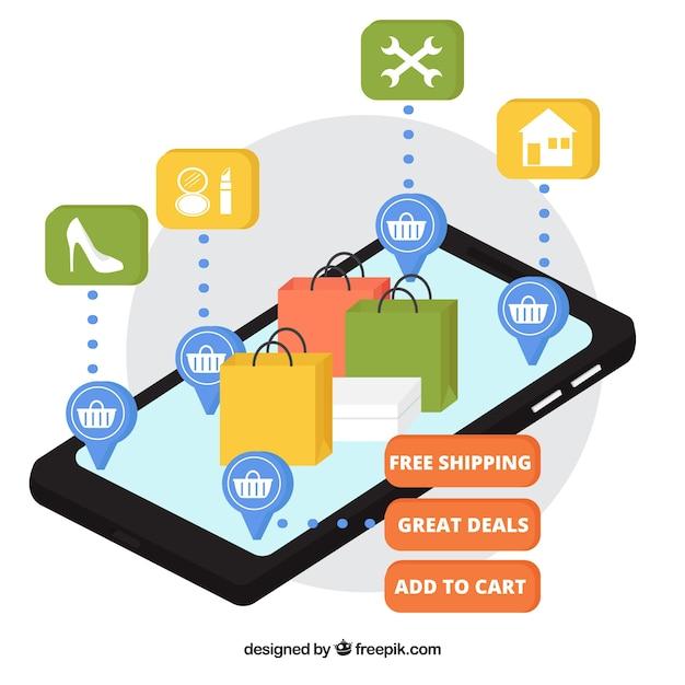 Handy mit Arbeitstüten im isometrischen Stil Kostenlose Vektoren