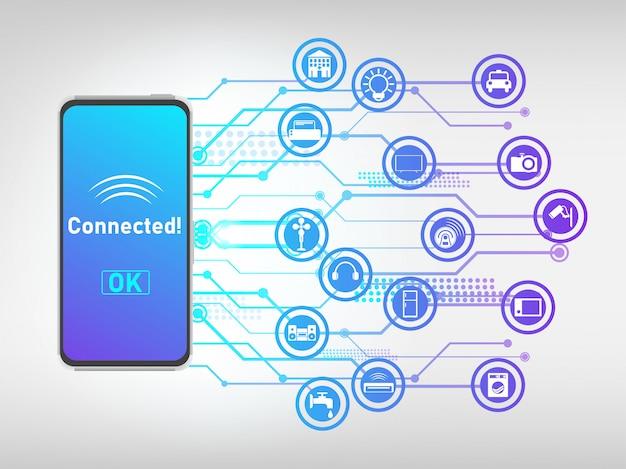 Handy mit dingen verbunden und steuern, internet der dinge abstrakten hintergrund. Premium Vektoren