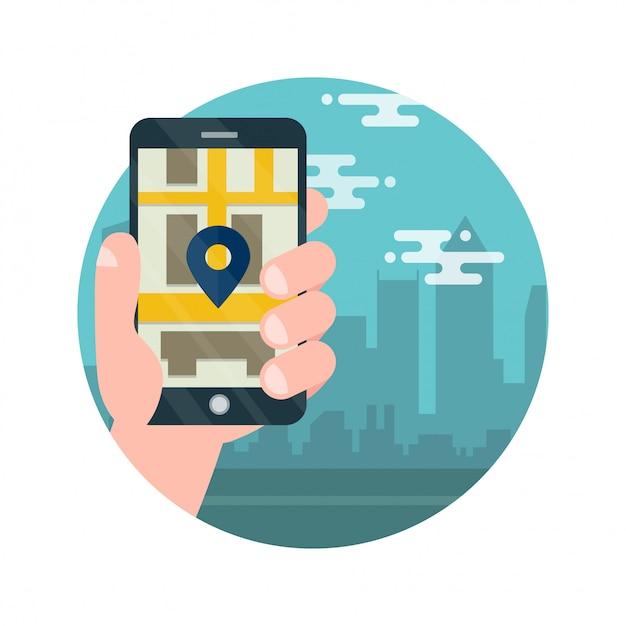 Handy mit karte und großstadt im hintergrund Premium Vektoren