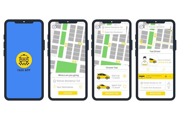 Handy mit taxi app Kostenlosen Vektoren