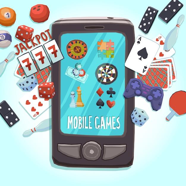 Handy-spielkonzept Kostenlosen Vektoren