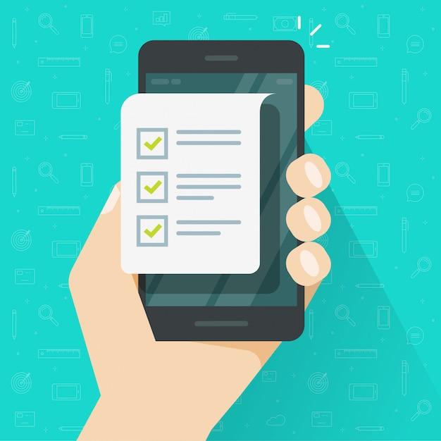 Handy- und checklistenformular oder mobiltelefonpapierdokument und flache karikatur der listencheckboxillustration tun Premium Vektoren