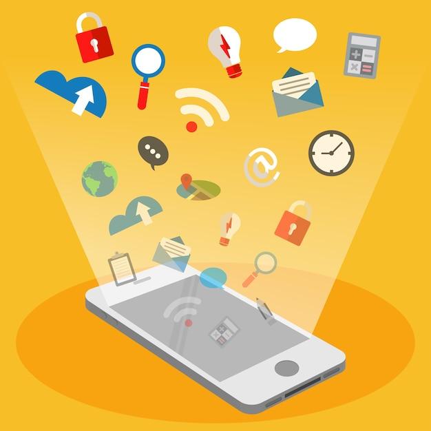 Handy und fliegende technologie symbol Premium Vektoren