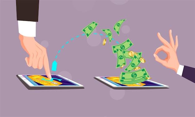 Handyzahlung, mann klickt mit dem finger auf schirmtablette. hombre hace clic con el dedo Premium Vektoren