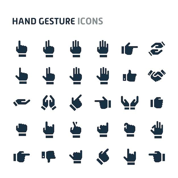 Handzeichen-icon-set. fillio black icon-serie. Premium Vektoren