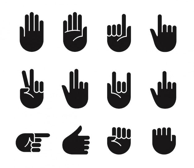 Handzeichen symbole Premium Vektoren