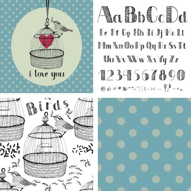 Handzeichnung alphabet und vögel Kostenlosen Vektoren