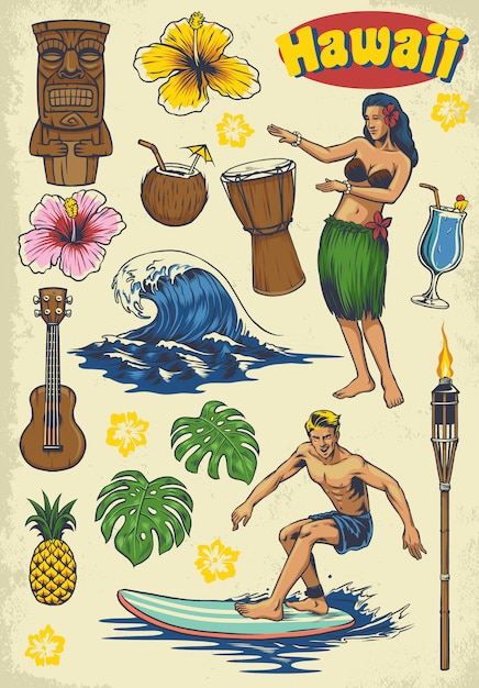 Handzeichnung hawaii retro-set Premium Vektoren