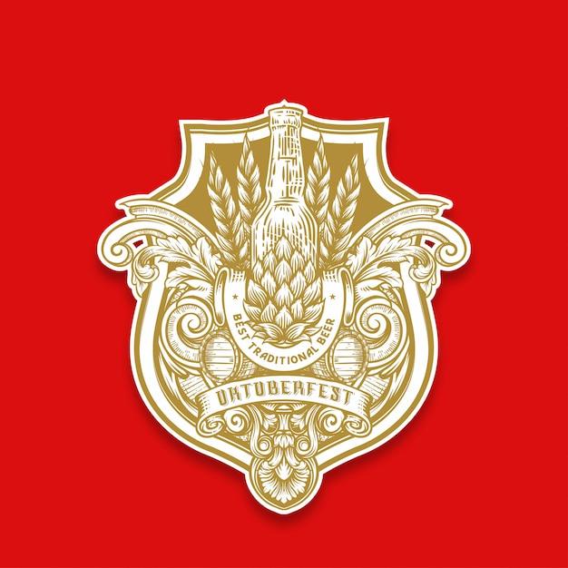 Handzeichnung oktoberfest emblem Premium Vektoren