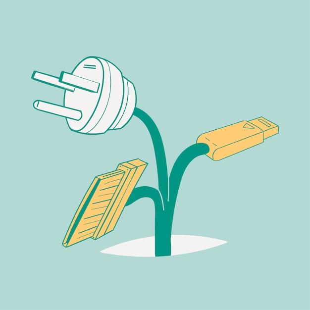 Handzeichnungs-illustrationssatz der umwelt stützbar Kostenlosen Vektoren