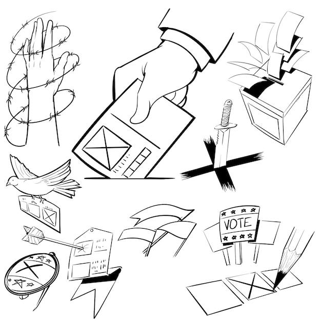Handzeichnungs-illustrationssatz der wahl Kostenlosen Vektoren