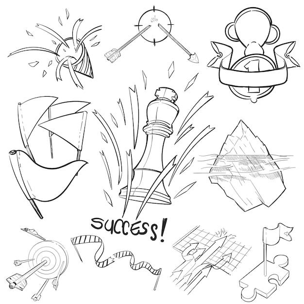 Handzeichnungs-illustrationssatz von erfolgreich Kostenlosen Vektoren