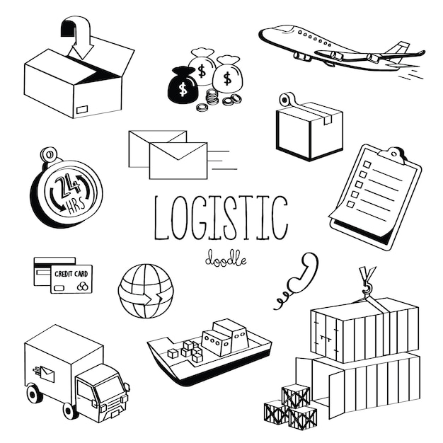 Handzeichnungsarten logistisch. logistische gekritzel Premium Vektoren