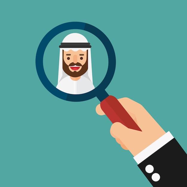 Handzoom-lupe, die arabischen geschäftsmann auswählt Premium Vektoren