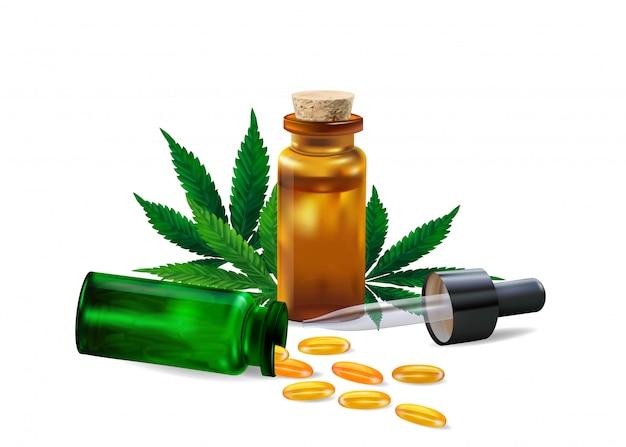 Hanföl und hanfblatt lokalisiert auf weißem hintergrund. gesundes cannabisöl Premium Vektoren