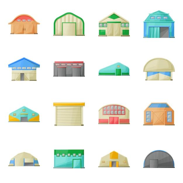 Hangar, lager des gebäudekarikatur-ikonensatzes. isolierte abbildung architektur des hangar. icon-set der fassade gebäude. Premium Vektoren