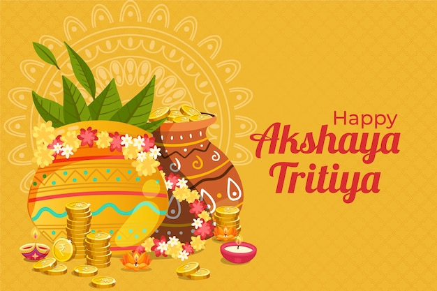 Happy akshaya tritiya dekorative töpfe und münzen Kostenlosen Vektoren