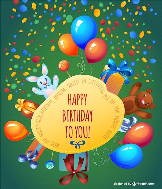 Happy Birthday Cartoon Karte Design