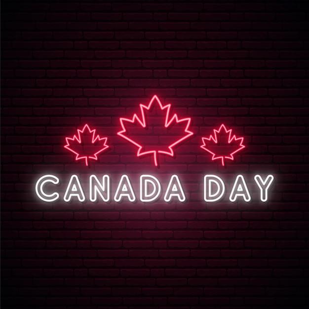 Happy canada day leuchtreklame. Premium Vektoren