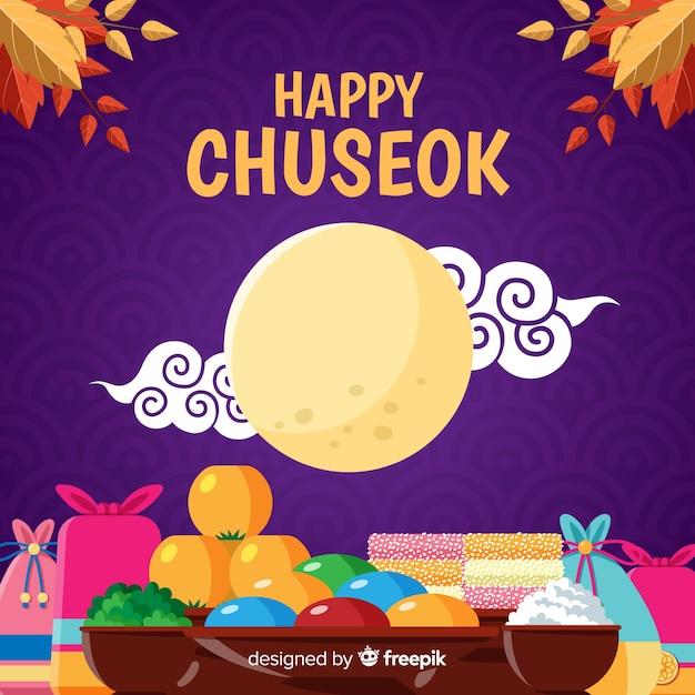Happy chuseok flaches design mit vollmond Kostenlosen Vektoren