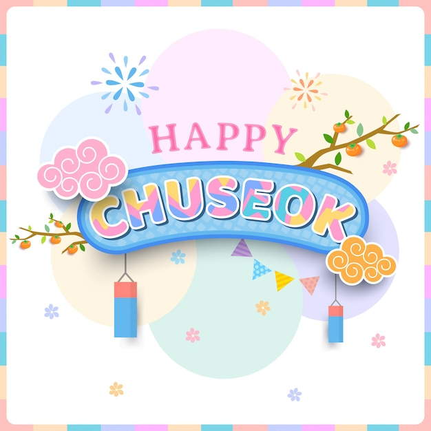 Happy chuseok schriftzug zur ikone. Premium Vektoren