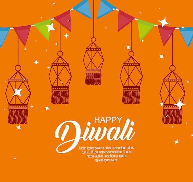 Happy diwali festival der lichter mit laternen und girlanden Kostenlosen Vektoren